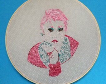 Portraiture, Pink embroidered hoop art illustration