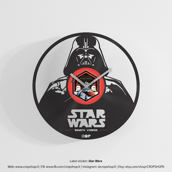 Darth Vader Wall Clock From Upcycled Vinyl Record Lp By
