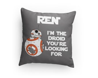 Star Wars BB8 Droid Inspired Pillow - Personalize with Name & Colors! Great Gift for Any Star Wars Fan! Christmas Gift Idea!