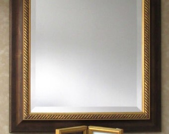 Ornate Frame, Beveled Mirror, 16 x20 Picture Frame,Gold Rope,Wall Mirror,Bathroom Mirror,Hallway Mirror,Bedroom Mirror,Home Decor,PowderRoom