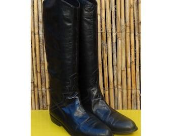 Vintage 90s  Black Leather Equestrian Riding Boots// size eu 37-us5.5