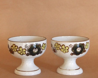 OTAGIRI footed dessert bowls, PAIR (2) of speckled stoneware compotes, Yellow floral decoration, Hand-crafted in Japan, New old stock
