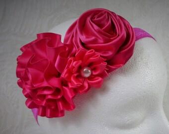 Fuchsia Headband, Baby Girl Headband, Baby Flower Headband, Newborn Headband, Baby Girl, Little Girl Headband, Flower Headband, Satin