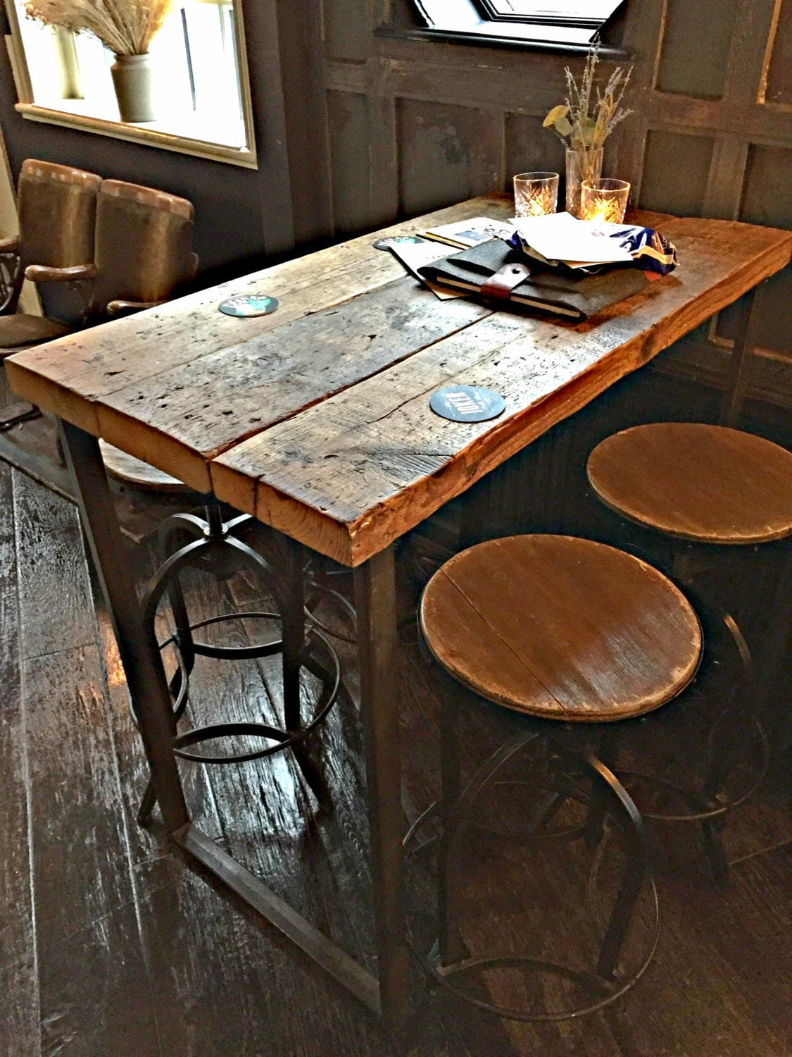 Reclaimed Industrial 4 Seater Chic Tall Poseur Table Wood