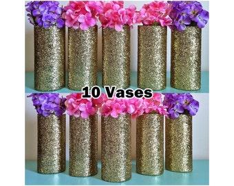 10 vases, wedding centerpieces, centerpieces, gold vases, glitter vases, wedding center pieces for tables, wedding center pieces, flowers