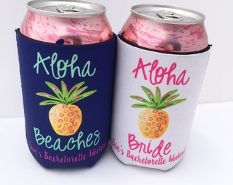 Aloha Beaches/Aloha Bride Bachelorette Party/Wedding Hugger/Beverage Insulator - Pineapple