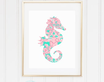 Palm Beach Seahorse Tropical Preppy Print - Pulitzer-Inspired Aqua / Seagreen and Pink - Glam, Chic, Lilly - Digital Instant Download, 8x10