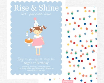 Pancakes and Pajamas Rise and Shine Birthday Party invitation-FREE SHIPPING or DIY printable