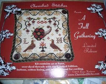"""Cherished Stitches Limited Release Cross Stitch Kit """"A Fall Gathering"""""""