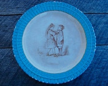 Vintage Turquoise Plate, Pinder Bourne & Co, Vintage Plate, Childs Plate, Turquoise Plate, Boy and Girl Vintage - Vintage Nursery Decor