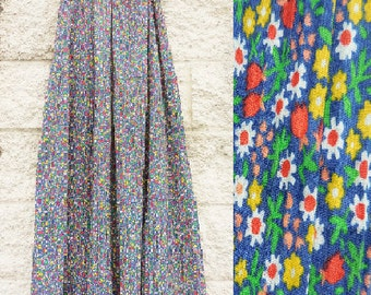 Peck and Peck New York Vintage 1960s Gorgeous Pleated Floral Print Maxi Skirt - Small