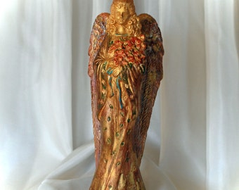 Gilded Angel Flowers Candle Holder Gold and Color