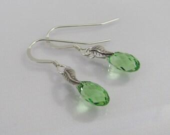 Peridot Crystal Earrings in Sterling Silver, Peridot Swarovski Crystal Briolette, August Birthstone Earrings, Peridot Jewelry, Drop Earrings