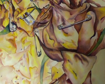 """Hanging by a Petal - 22""""x30"""" Watercolor Painting"""