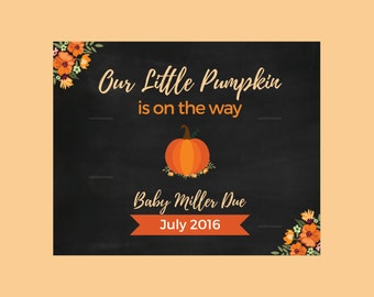 Personalized Fall pregnancy announcement - Pumpkin pregnancy announcement - halloween pregnancy announcement- little pumpkin due #019