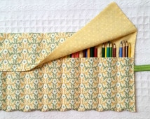 Pencil Roll Organizer Storage Rollup for Coloring, Yellow and Green Leaves, Yellow Polka Dots Fabric Colored Pencil Roll FREE SHIP
