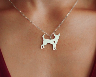 SALE - Chihuahua Dog Necklace - Custom Dog Charm - Dog Jewelry - Pet Jewelry - Personalized Pet - Toy Dog - Engraved Pet Name - New Puppy