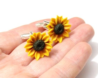 Cufflinks Sunflower, Jewelry Gift, Cufflinks Mens, Cufflinks Wedding, Men's Accessories, Gift Boxed