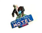 End Of Trail Motel Sign Brooch, Pop Art Brooch, Vintage Hotel Sign, Old Sign, Rustic Vintage Neon Sign, Wooden Sign, Wooden handmade Brooch