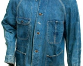 1950s Large XXL Jacket Jean Denim Pay Day Dark Wash Cotton Blue Indigo Mens Union Sanforized Factory Levi Big E Collectible Chore Uniform