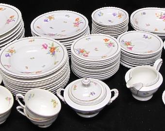 Very Rare Meissen Krautheim Franconia SCALLOPED Porcelain Dinnerware Set of 78 Pieces