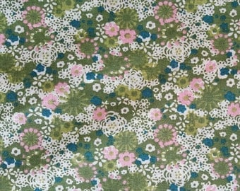 "Vintage  Floral Green/peach/Cream print Quilting Fabric.  42"" Wide/ Sold by the 1/2 Yard"