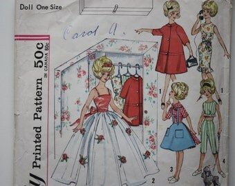 Vintage Simplicity 4883 - Clothes for Doll - Barbie clothes pattern - Tammy Doll