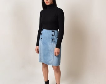 Sailor Button Front Denim Skirt Vintage Light Wash Denim High Waist Pencil Skirt Preppy Mod Nautical Waist 32 XL