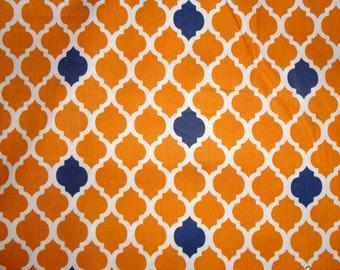 Orange and Blue Quatrefoil Print Cotton Fabric - 1 Yard only