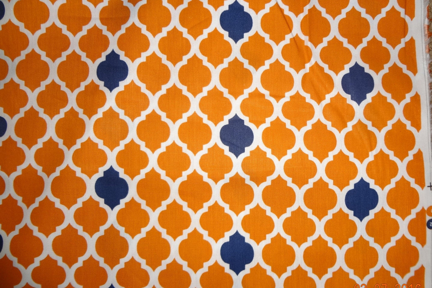 orange and blue quatrefoil print cotton fabric 1 yard only. Black Bedroom Furniture Sets. Home Design Ideas