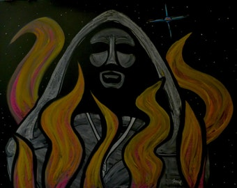 Giordano Bruno and the supernova done in colored and white drawing chalk #100