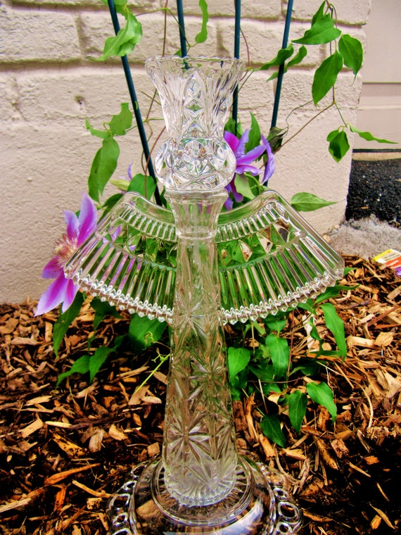 Glass angel sculpture upcycled vintage glassware repurposed for Upcycled yard decor