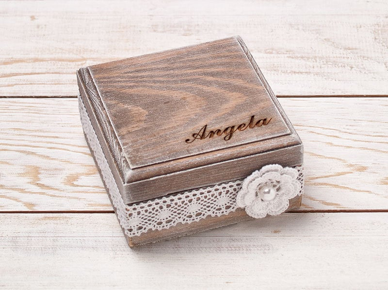 Personalized Bridesmaid Gift Box Rustic Shabby Chic Wedding