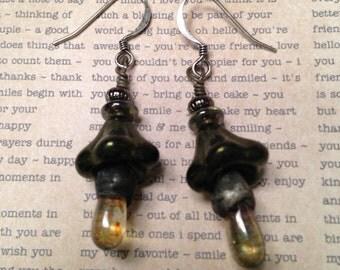 Dark green bell flowers with olive green Czech glass artisin tinned dangle earrings