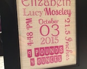 Burlap Baby Birth Announcement, 8x10 White or Natural Burlap, Girl or Boy