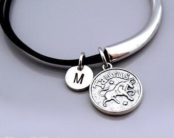Taurus bracelet, Taurus bangle, Taurus Zodiac charm bracelet, Taurus zodiac bangle, Zodiac jewelry, Leather bracelet, Leather bangle