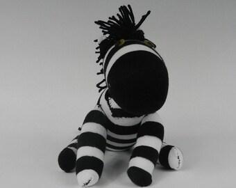 Zebra Stuffed Animal, Zebra Stuffed Toy, Zebra Plush, Zebra Stuffed Plushie, Zebra Sock Animal Toy