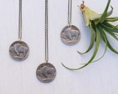 Vintage Buffalo Nickel and Sterling Silver Necklace