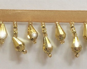 50% Off!  Metallic Gold Beaded Fringe Trim.   Now Only 3.35 a Yard.  Over 50 colors available.