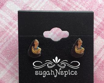 Pocahontas Earrings - Disney Princess Earrings - Princess Pocahontas  - Little Girl Earrings - Princess earring - Pocahontas Posts