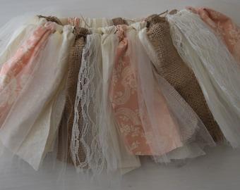 Burlap and lace tutu.Vintage inspired lace tutu.Burlap and lace birthday tutu.Flower girl tutu.Rustic wedding flower girl tutu.