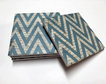 Blue Chevron Coasters - Chevron Home Decor - Drink Coasters - Tile Coasters - Ceramic Coasters - Table Coasters On Sale