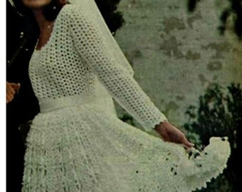 CROCHET WEDDING DRESS Pattern Vintage 70s Crochet Bridal Dress Pattern Crochet Long Maxi Dress Pattern