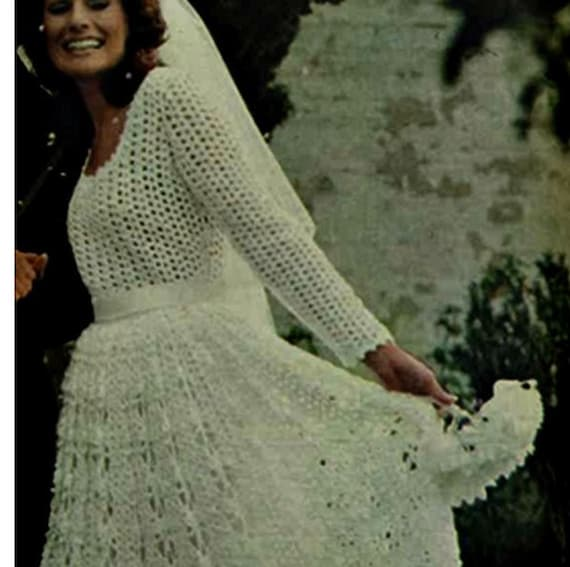 Crochet wedding dress pattern vintage 70s crochet bridal dress crochet wedding dress pattern vintage 70s crochet bridal dress pattern crochet long maxi dress pattern junglespirit Images