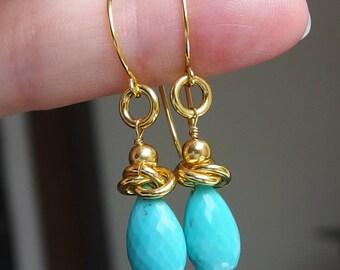 sleeping beauty turquoise earrings gold vermeil earrings drop 24k Bali earrings gold vermeil boho earrings blue gold vein rings beauty mine