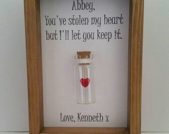 Boyfriend, Girlfriend, Wife, Husband, Romantic, Gift.  Can be personalised with names or your own message.
