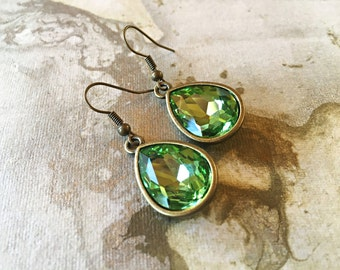 Teardrop Earrings Lime Green Glass