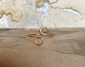 Wire Wrapped Ring, Gold, Gold Plated, Midi Rings, Minimalist Rings