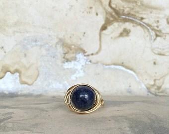 Wire Wrapped Ring, Lapis Lazuli Gemstone, Gold