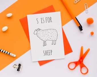 Sheep Card / Animal Alphabet Card / Animal Alphabet / Blank Greeting Card / Notecard / Animal Card / Sheep Birthday Card / Farm Card